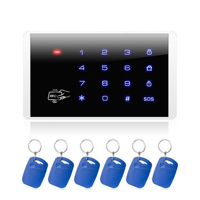 Fuers k16 rfid cartão braço e desarmar teclado de toque para pstn gsm sistema de alarme segurança em casa 433 mhz sem fio senha teclado sistema