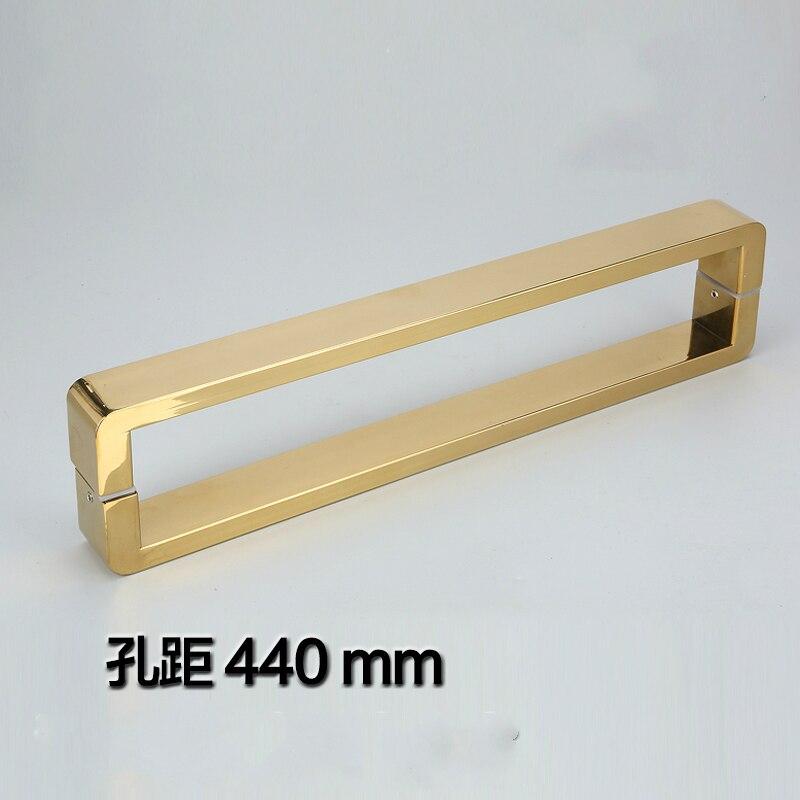 Gold 304 Stainless Steel Shower Door Pull / Push Handles Bathroom Glass Door Handles,GLASS MOUNT for 6~12mm Glass