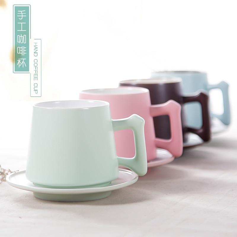 Milk  Coffee Mugs  and Spoon Pure Color Mugs Cup Kitchen Tool Gift Custom Personalised Morph Mugs Coffee Ceramic Magic