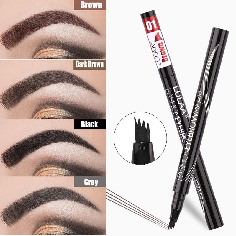 Lápiz de cejas impermeable Natural marrón negro gris ceja potenciador de cuatro mandíbula tatuaje lápiz de cejas maquillaje