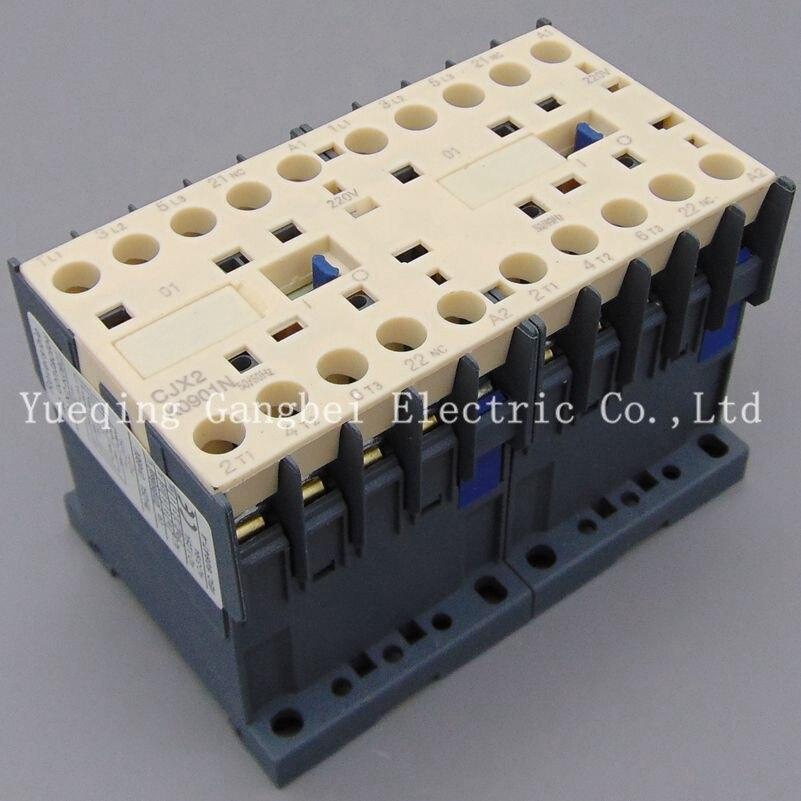 Contactor mecánico de inversión CJX2K0901N, contactor de cadena mecánica, voltaje 380V 220V 110V 36V 24V