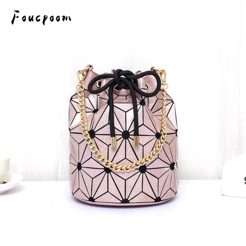 De moda luminosa mujeres bolso con cordón geometría cuadros bolsos de hombro plegable cadenas bolso diamante Casual Tote bolso