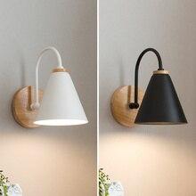 Nordic luzes de parede de madeira branco/preto lâmpada parede cabeceira quarto arandela luz para cozinha restaurante arandela luminárias