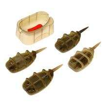Carpe pêche en ligne méthode mangeoire plomb plombs à fond plat 4 mangeoires 15/20/25/35g moule ensemble pour carpe pêche appât outil