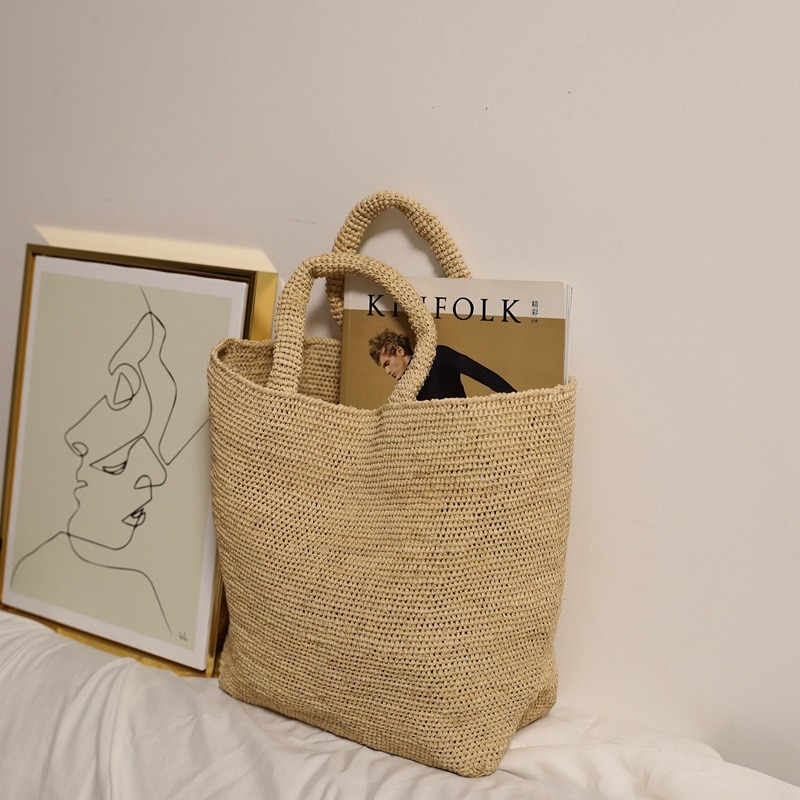 اليدوية القش حقيبة الترفيه الشاطئ تخزين النساء حقائب اليد المنسوجة الأفريقية يدوية الصنع حقيبة كتف منتجع شاطئ البحر حقيبة