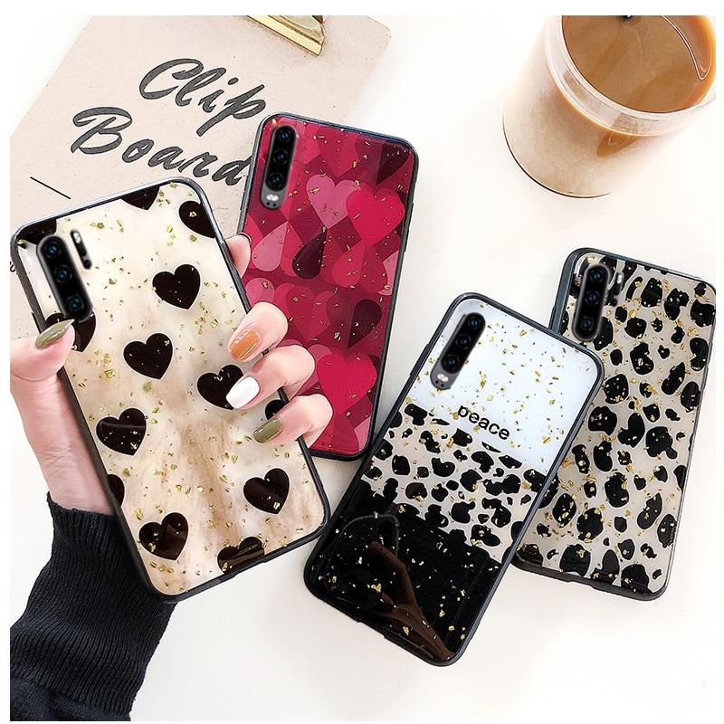 luxury leopard print glitter case for huawei honor 20 10i 20i P30 P20 P10 lite 2019 pro plus love hart back cover funda coque