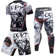 Flambant neuf hommes Compression t-shirt à manches longues/courtes jogging t-shirts 3D gorille Fitness collants BJJ MMA gymnases exercice Ras hguard hauts