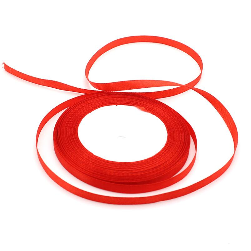 1/4'' (6mm) 25 Yards Satin Ribbon Wedding Party Decoration Invitation Card Gift Wrapping Christmas Supplies Biband 10pcs