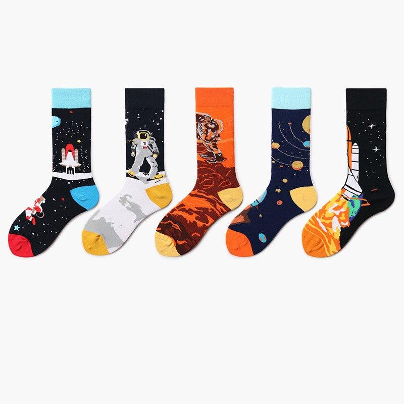 2020 New Spring Cotton Women Space Socks Korea Women's Summer Fashion Astronaut Planet Socks Universe Novelty Short Funny Socks