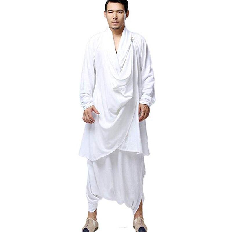 LZJN, Meditación Budista, Tops para hombres, ropa tradicional, conjunto kungfú chino, blusa de lino de algodón, pantalones de cintura elástica, camisa suelta