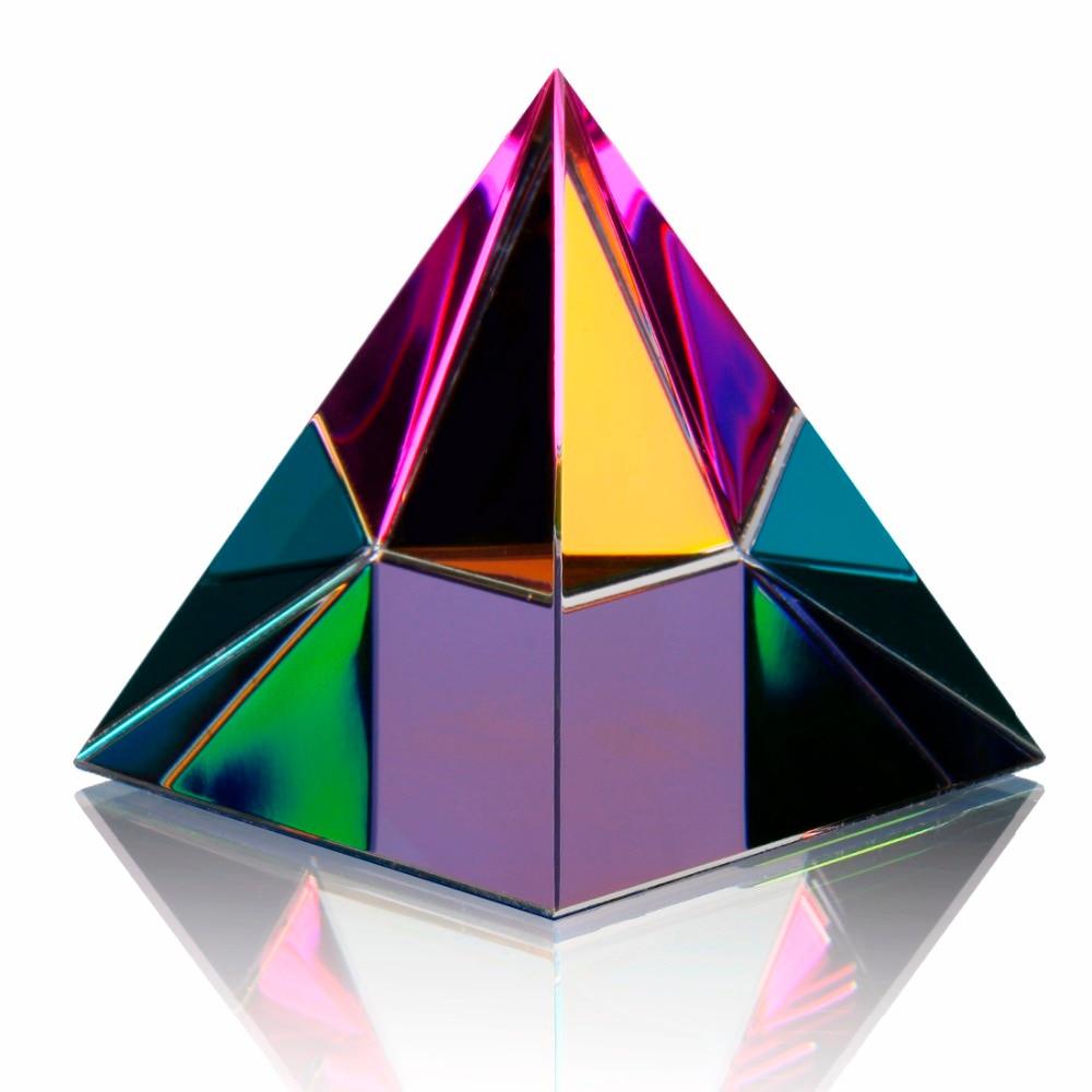 H & d cristal iridescente pirâmide arte decoração energia cura estatueta feng shui paperweight casa sala de estar decoração (multi cor)