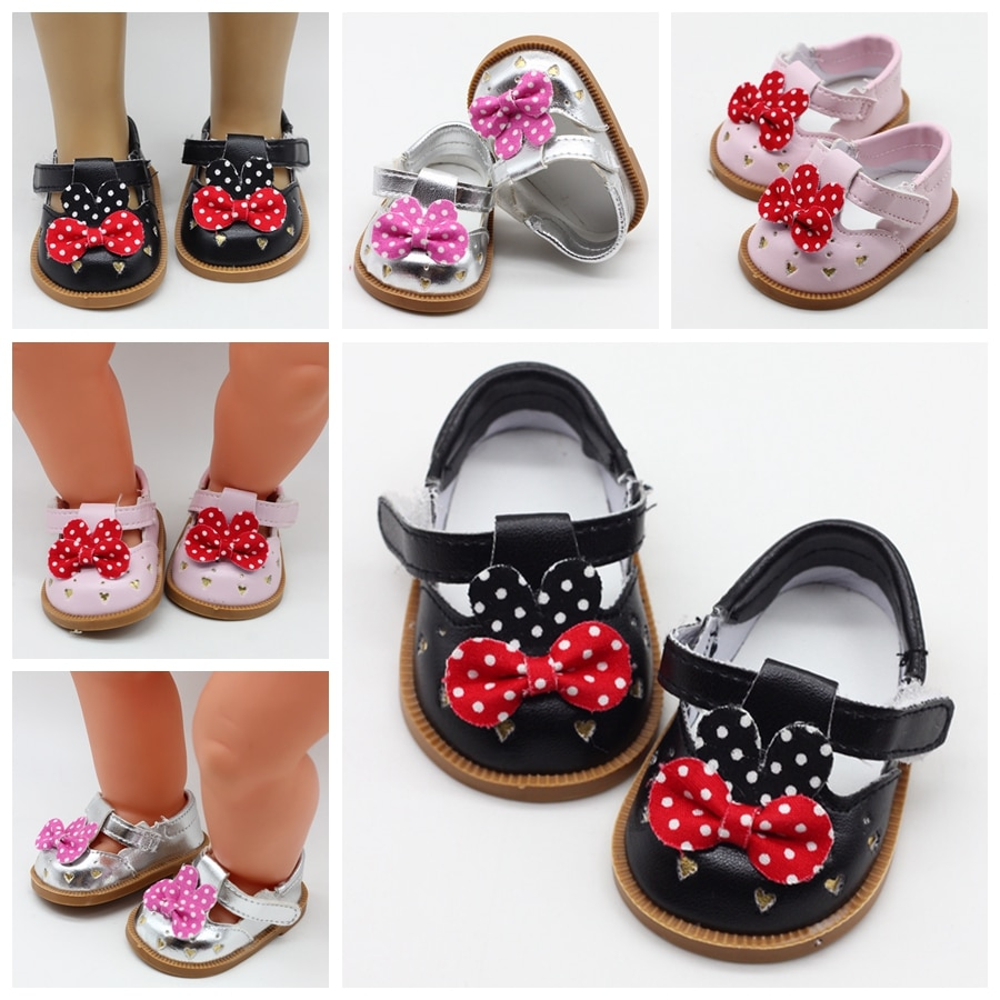 New Fashion Baby Doll Shoes 7cm Shoes Leather Shoes With Bow Fits 43cm Dolls Baby New Born and 18