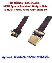 5 cm/10 cm/15 cm/20 cm/30 cm Della Flessione Super Soft Cavo HDMI FPV micro Reverse Maschio Up angolo di 90 a Standard Maschio Dritto Per Sony A6500
