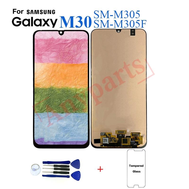 Original Super AMOLED LCD para Samsung Galaxy M30 M305F reemplazo de pantalla LCD con montaje de digitalizador con pantalla táctil con herramientas