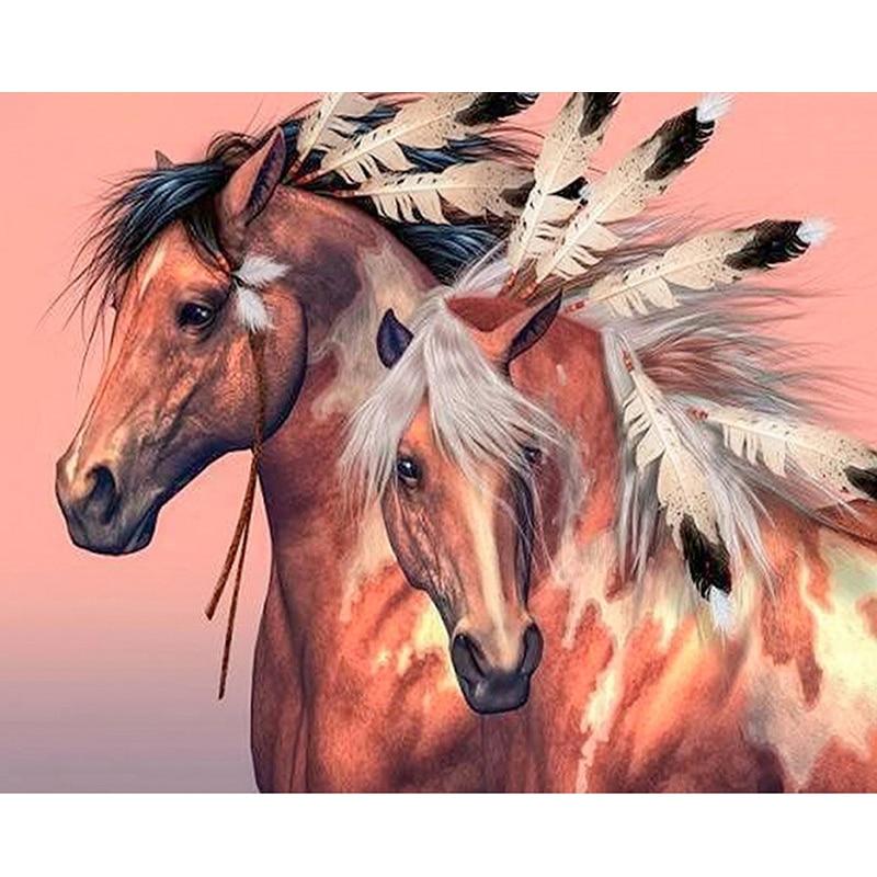 5d Diy pintura de diamante punto de cruz caballo bordado imágenes de diamante de imitación taladro redondo completo Dimond arte mosaico decoración del hogar Pa618