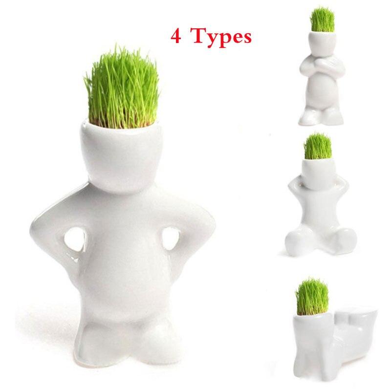 4 form Wählen DIY Mini Novel Bonsai Gras Puppe Haar Weiß Faul Mann Anlage Für Garten Pflanzen Bonsais Geschenk Hause dekoration