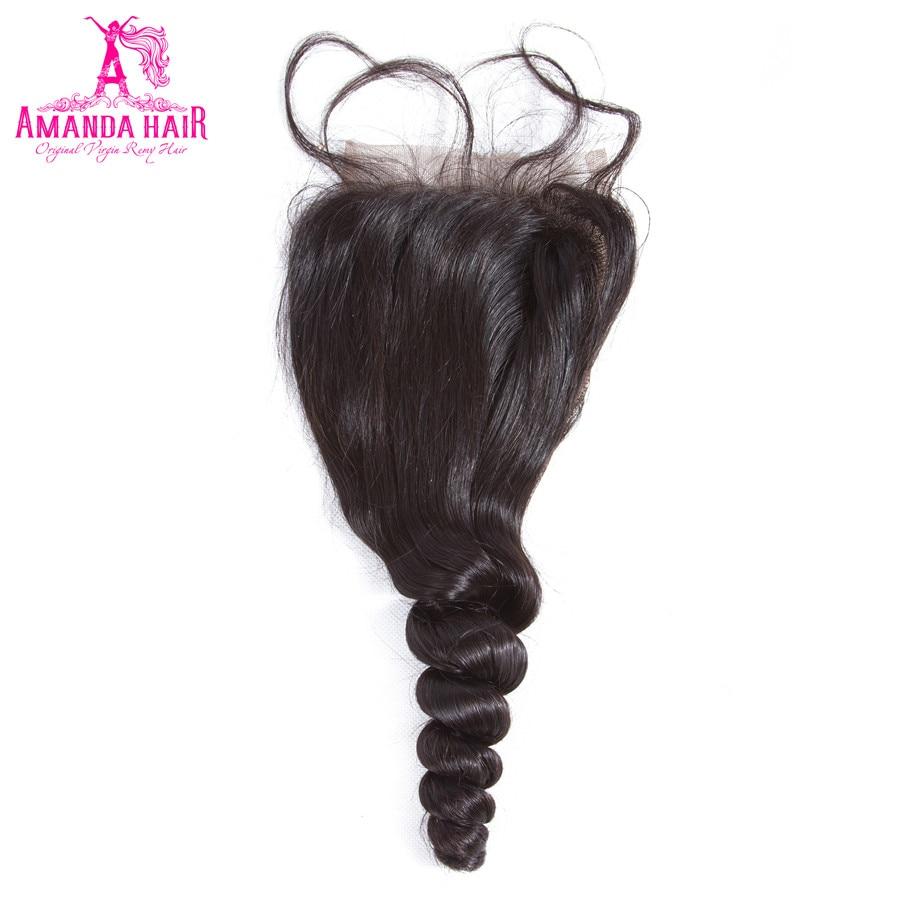 Аманда бразильский свободная волна Синтетическое закрытие шнурка волос 130%