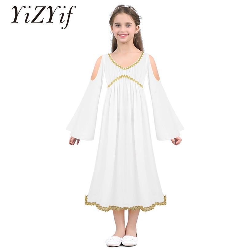 YiZYiF Kids Girls Greek Cosplay Halloween Costume Aphrodite Athene Long Sleeves V-neckline Gold Trim Role Play Dress