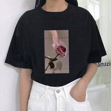 Harajuku feminino t camisa rosa flor chama impressão manga curta tshirt feminino casual divertido t camisa para senhora topo t hipster tumblr