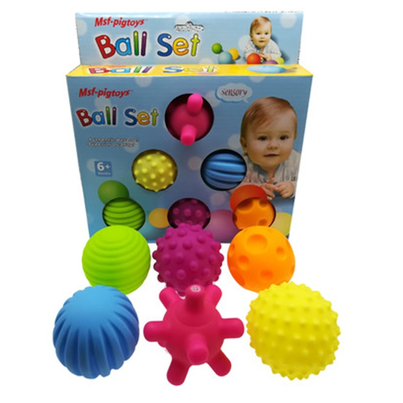 6pcs/set Baby Toy Ball Set Develop Baby's Tactile Senses Toy Touch Hand Ball Toys Baby Training Ball