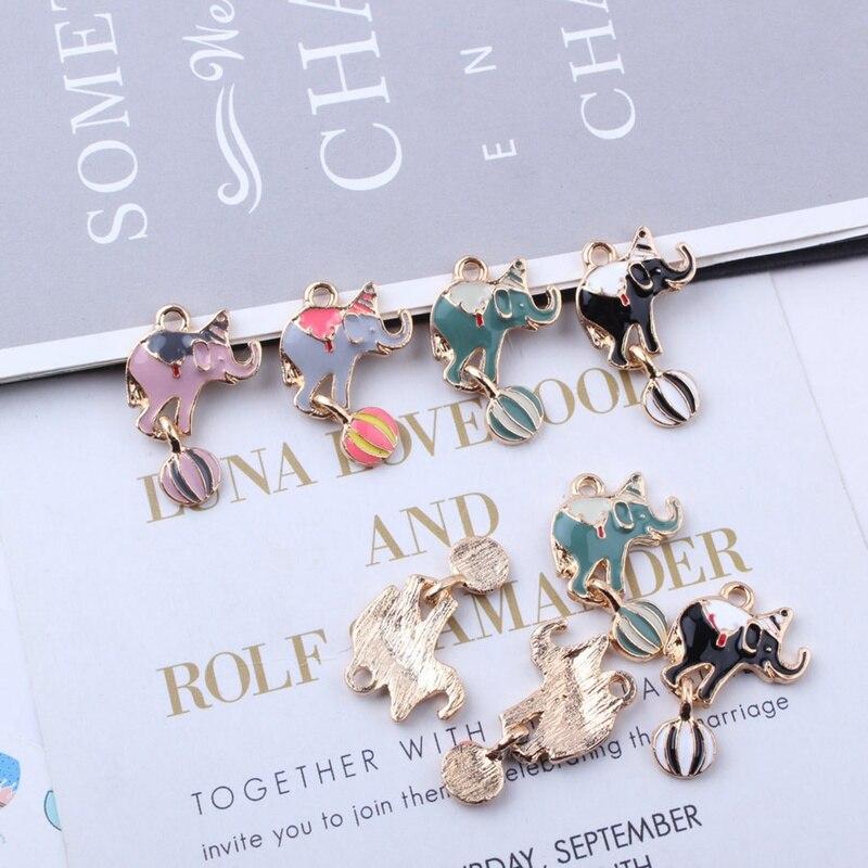 Cirque jouer balle éléphant pendentif émail délicat animaux charmes bricolage accessoires bijoux pour collier fait à la main 50 pcs/lot