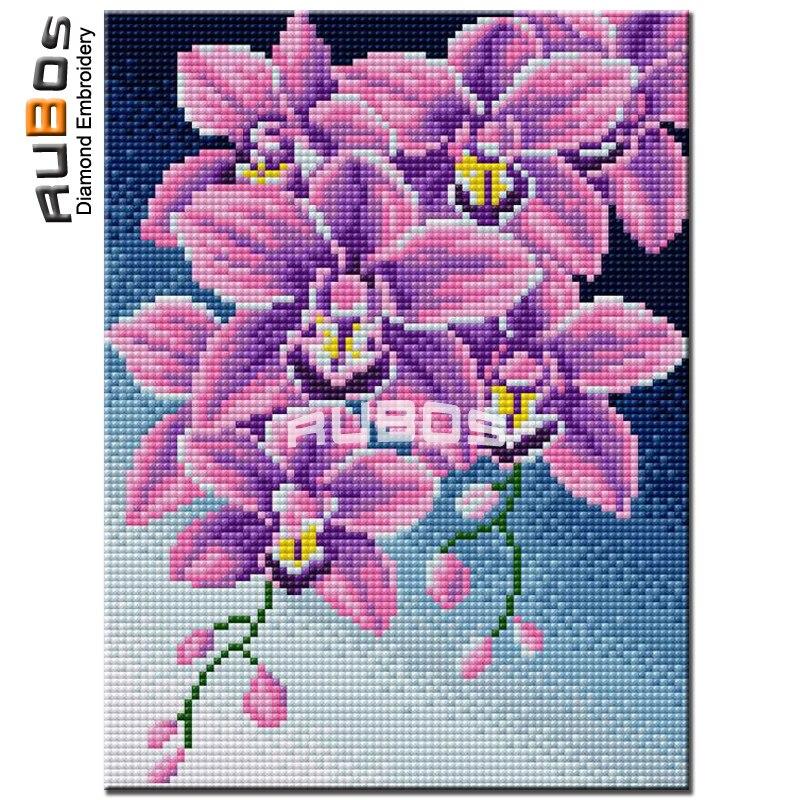 RUBOS DIY 5D pinturas de diamantes orquídea púrpura mosaico de diamantes con forma de flores bordado de diamantes de imitación venta cuadrada completa cuadro de resina
