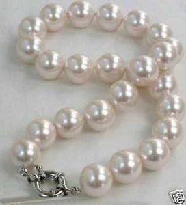 Gran noblest mar sur blanco rosa shell perla collar 12mm AA