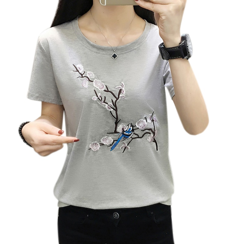 plus size white t shirt women tops summer 2020 cotton t-shirt women tshirt embroidery tee shirt femme camiseta mujer poleras