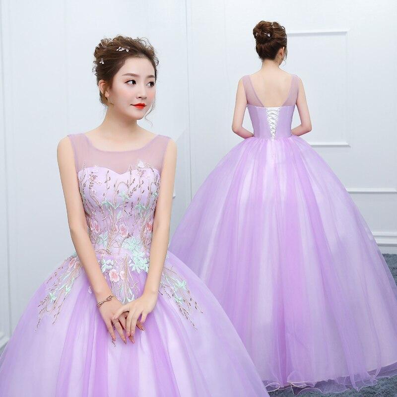 Sin mangas azul Quinceañera vestidos Vestido de bola flores tul apliques Vestido de bola Vestido Debutante cuello redondo dulce 16 vestidos