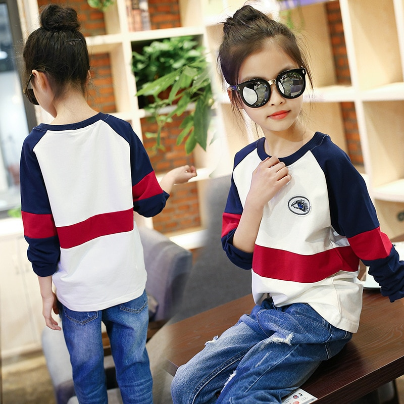 4... 12-14 años chicas adolescentes casual Camiseta de manga larga blanco azul patchwork sport stripe sweater ropa de los niños tops camisa