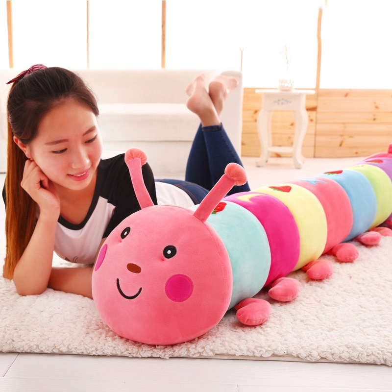 Colorful caterpillar stuffed toy doll soft stuffed animal pillow baby girl toy kawaii plush insect children fashionbirthday gift