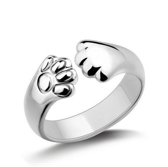 1 pc bonito gato anéis feminino abertura dragão gato orelhas pata anel crd12