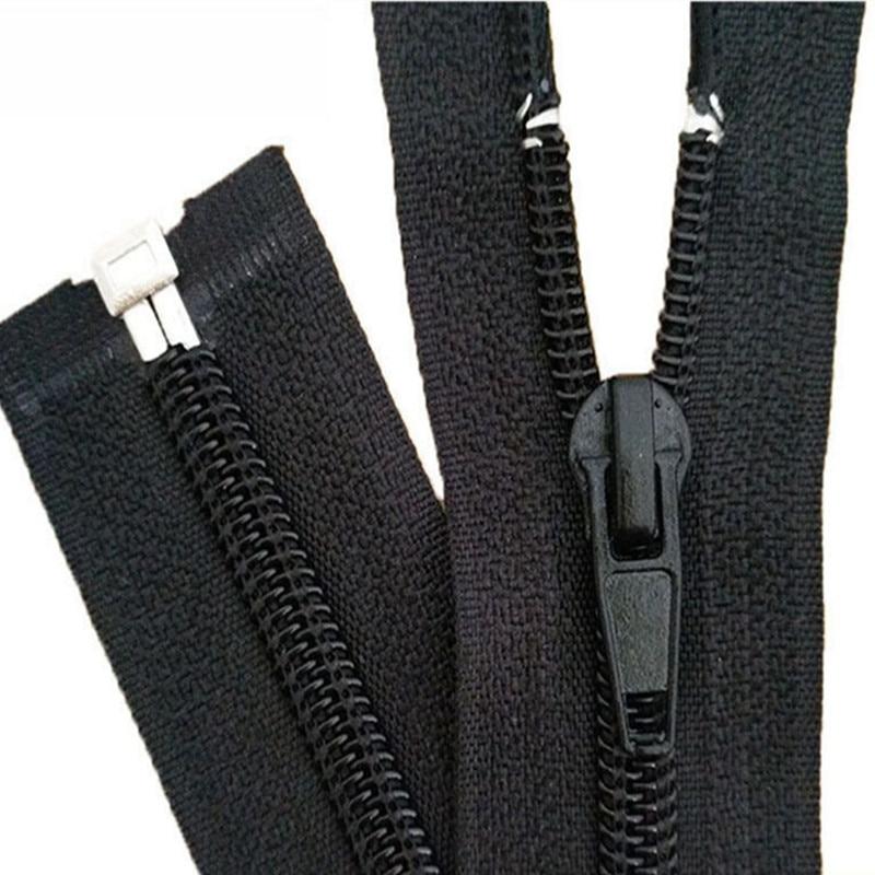 10PCS Black 15-180cm Zippers Open End Zipper Nylon Zipper for Sewing Garments Long Coat Down Jacket,