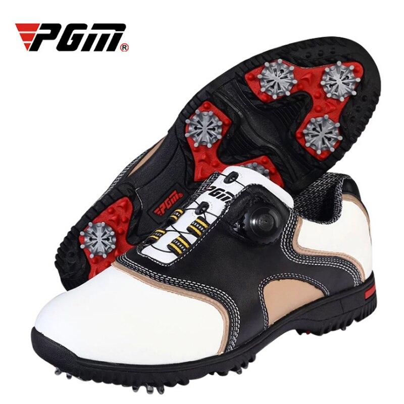 PGM, zapatos de Golf de cuero genuino para hombre, zapatillas deportivas impermeables, picos giratorios automáticos, zapatos ligeros cómodos A7087