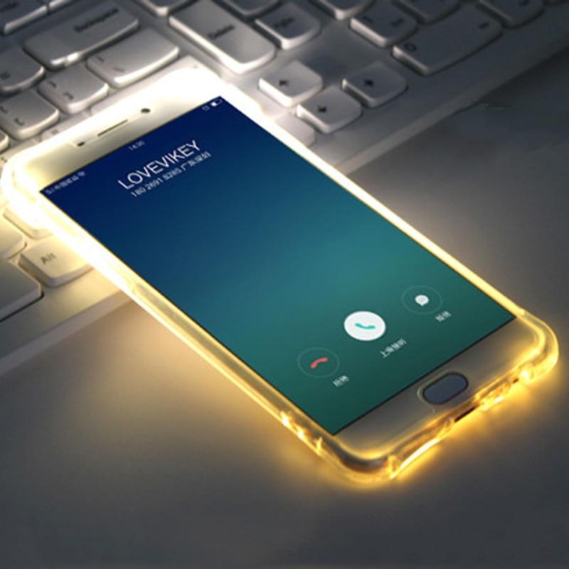 Voor J3 J5 J7 2016 Inkomende Oproep Lum Selfie Licht Tpu Led Flash Case Voor Samsung Galaxy Note 4/5 S6 s6edge Plus S7 S7edge S8 Plus