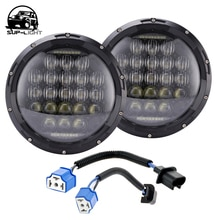 Phare LED 75w 7 pouces avec yeux dange DRL feu de stationnement 12v pour Jeep Wrangler TJ FJ JK Harley motos Hummer H1 H2