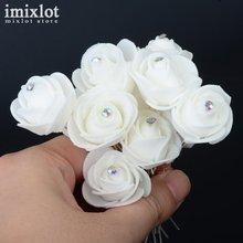 Imixlot 10 unids/lote horquillas con flor para cabello rosas de espuma blanca Clips de boda para Mujer Accesorios para el cabello