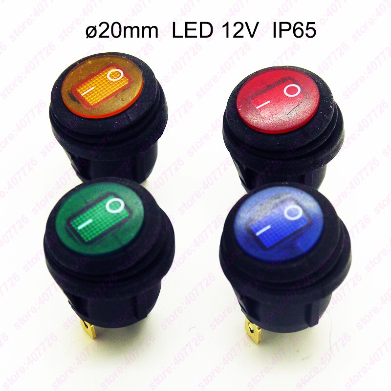 1PC Waterproof LED 12V 20MM Rocker Switch IP65 On/Off Mini Push Button Round Switch On Car Dash 3Pin SPST LED illuminated