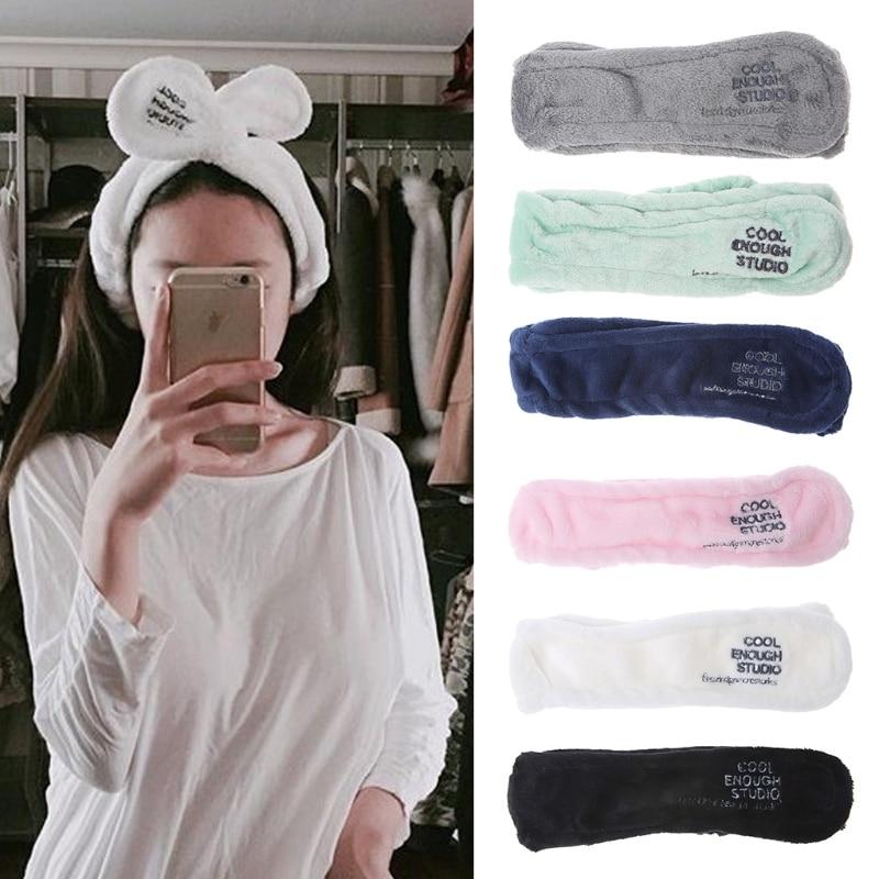 Повязка для волос для девочек, для мытья лица, для ванны, спа, для макияжа, обертка, ободок с кроличьими ушами, мягкая эластичная