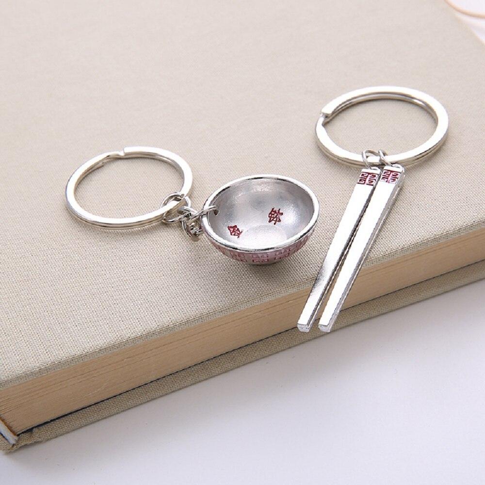 Envío Gratis 100 par/lote bol de aleación de zinc y palillos conjunto de llaveros estilo chino recuerdos de boda y regalos de devolución