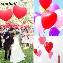 Ballons Latex cœur rouge romantique 10 pouces   100 pièces par lot, ballons à Air pour anniversaire, décoration de mariage, fournitures de saint-valentin, fête danniversaire