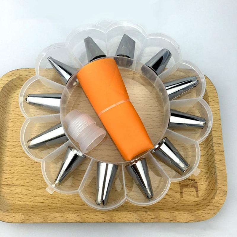 Conjunto de 14 unidades DIY, conjunto de decoración de Tartas, juego de boquillas de acero inoxidable para glaseado, bolsa de crema pastelera, juego de boquillas con recolección de almacenamiento