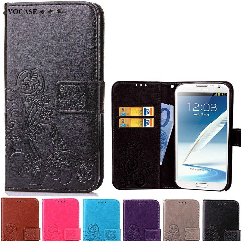 Note2 estilo de cartera de lujo PU Funda de cuero para Samsung Galaxy Note 2 N7100 fundas del teléfono con tapa con soporte de tarjetas Coque