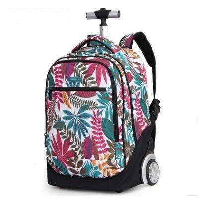حقيبة ظهر بعجلات 18 بوصة للأطفال حقائب مدرسية بعجلات حقيبة ظهر ترولي للمراهقين والأطفال حقيبة ظهر مدرسية للفتيات