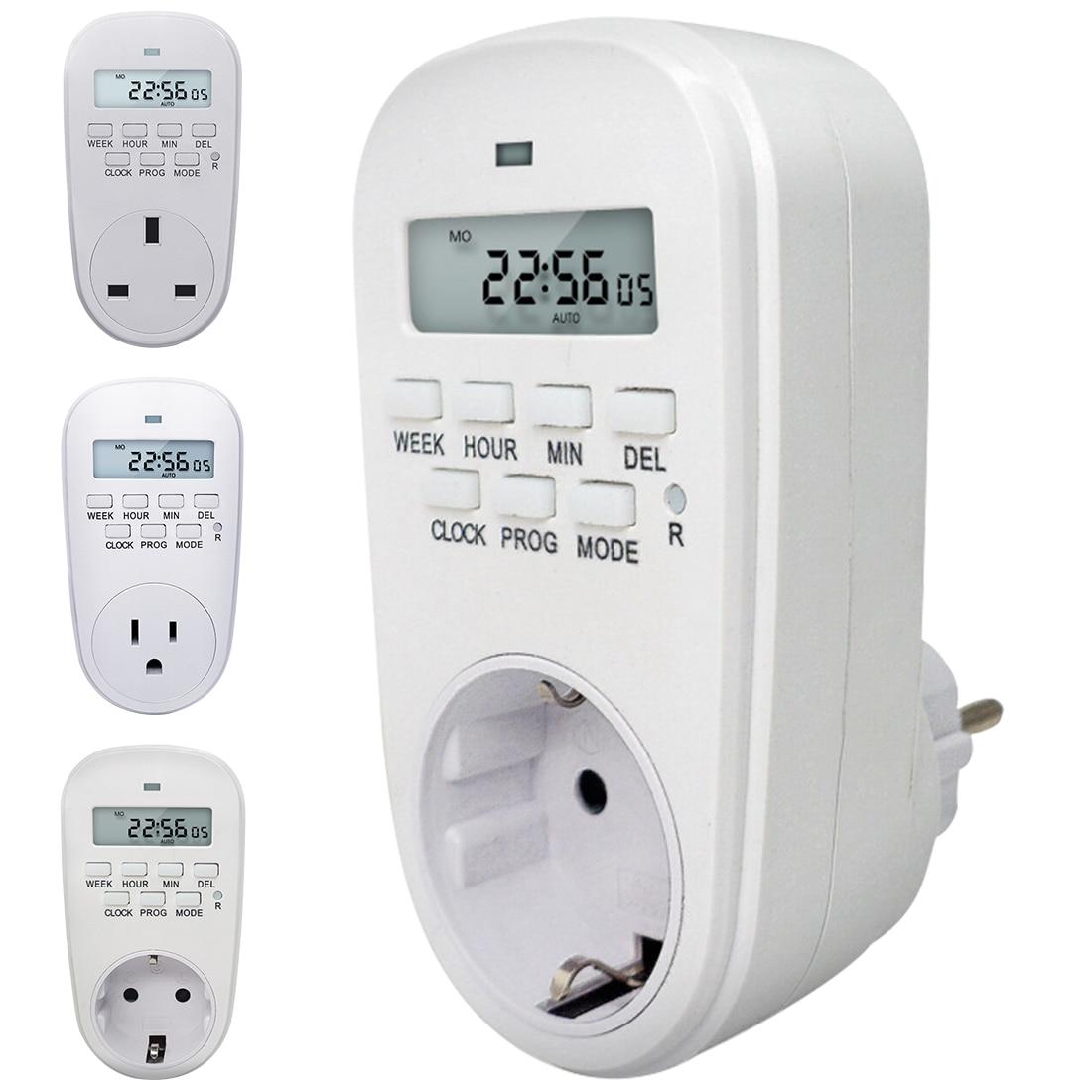 Enchufe de potencia inteligente con ahorro de energía EU/US/UK enchufe ajuste programable ajustable del reloj/encendido/apagado temporizador Digital