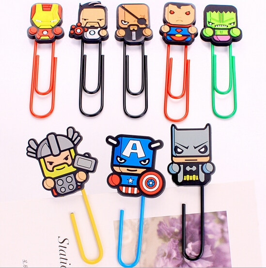 Super American Marvel Heroes Clip de papel marcador regalo promocional papelería escuela Oficina suministro Escolar papelería
