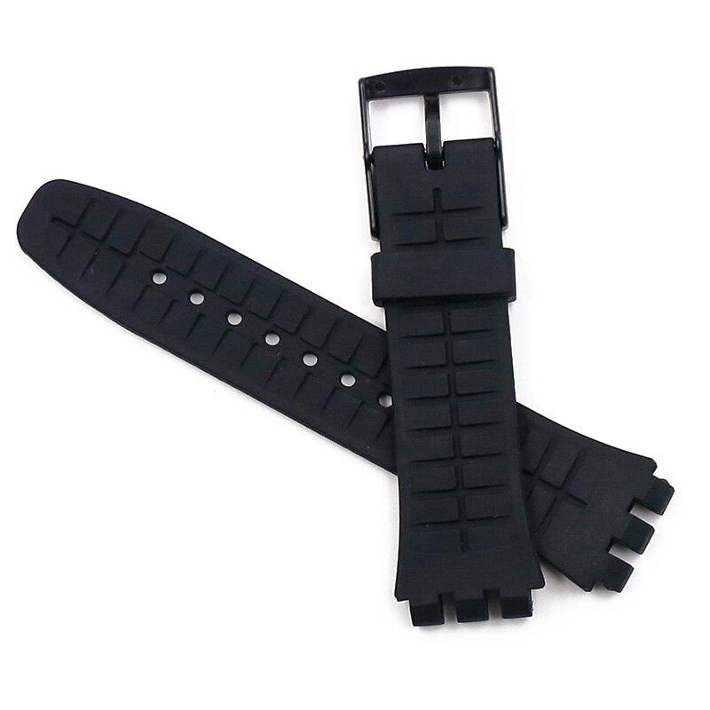 Купить с кэшбэком Pin buckle 20mm silicone strap men for Swatch SUSB401SUSW402SUSN400SUSL400 rubber strap waterproof bracelet watch band