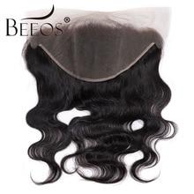 Cheveux brésiliens Remy naturels-Beeos   Deep Part, oreille à oreille, 13x6, Lace Frontal Closure, 8-20 pouces, pre-plucked, nœuds décolorés