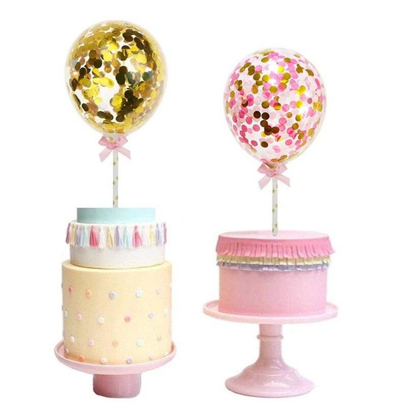 1 комплект, 5 дюймов, конфетти, воздушный шар, украшение для торта с бумажным соломенным бантом, детский душ, сувениры для свадьбы, дня рождения, вечеринки