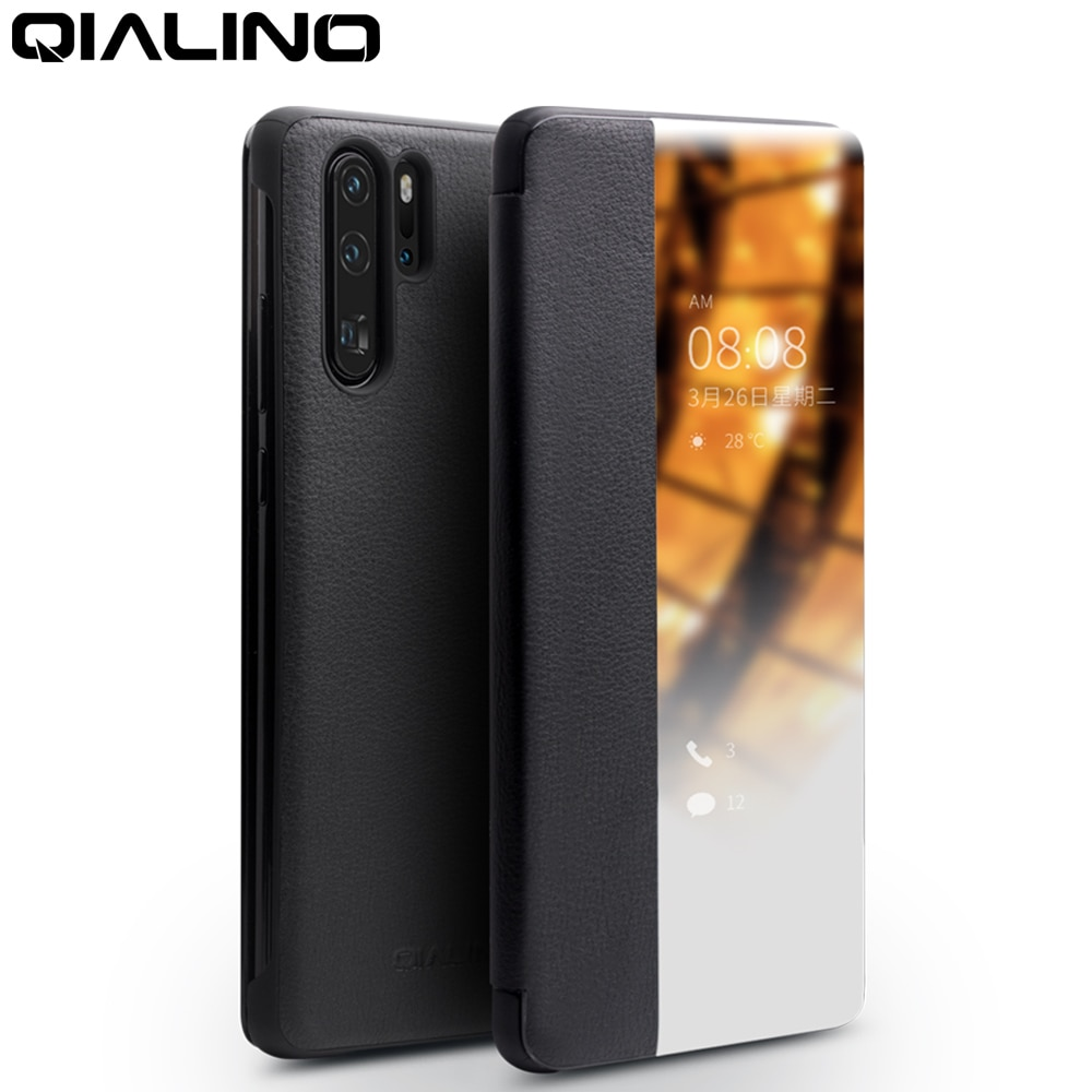 QIALINO غطاء هاتف محمول, غطاء هاتف من الجلد الطبيعي موديل P30 Pro مقاس 6.47 بوصة صناعة يدوية مع مظهر ذكي لأجهزة هواوي P30